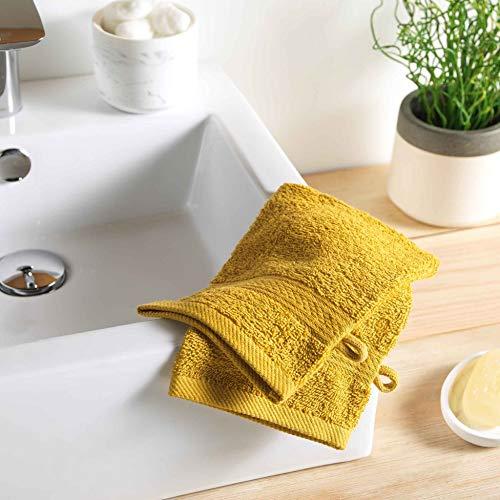 2 gants de toilette 15 x 21 cm eponge unie colors miel