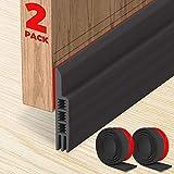Holikme Door Draft Stopper 2 Pack Black 37-inch Under Door Draft Blocker Insulator Door Sweep Weather Stripping