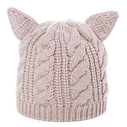 Siggi Bonnet Femme Laine Chat Oreilles Chapeaux d'hiver pour Fille Beanie Laine PussyCat Gris