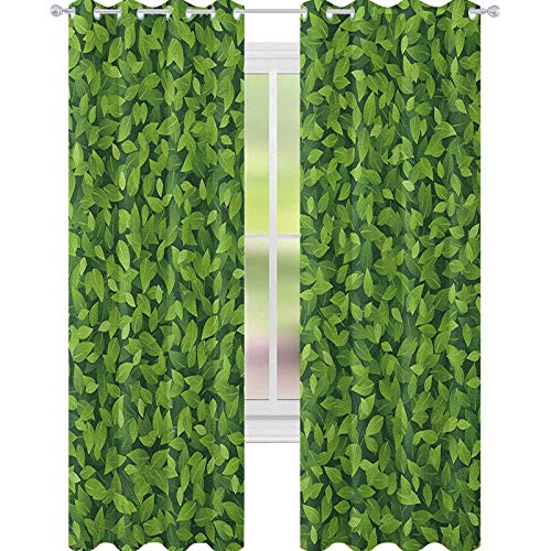 YUAZHOQI Green Blackout Curtains Fresh Leafage Foliage Botanical Natural Growth Rainforest Eco Environment Waterproof Window Curtain 52' x 63' Lime Green Fern Green