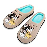 French Bulldog Frenchies Cotton Breathable Slippers with Memory Foam Anti Skid Sole for Women Backless