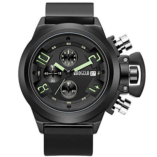 Herren Uhren Militär Leuchtend mit Schwarz Silikonarmband Groß Big Bang Chronograph Wasserdicht XL (Schwarz)