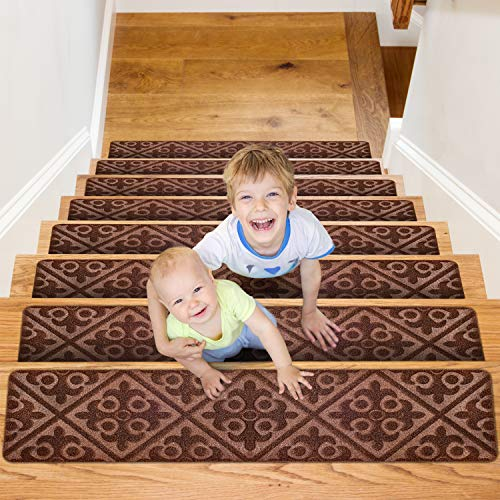 """CrystalMX Non-Slip Carpet Stair Treads, Anti Moving Grip and Beauty Rug Tread Safety for Kids Elders and Dogs, 8"""" X 30"""" (Charcoal Grey, Set of 15)"""