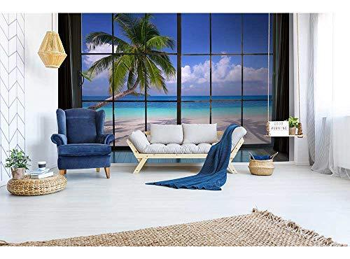 Vlies Fototapete STRAND HINTERM FENSTER 375 x 250 cm   Vliestapete - Wandtapete für Wohnzimmer Schlafzimmer Büro Flur   PREMIUM QUALITÄT - MADE IN EU - Inklusive Tapetenkleber