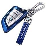 BMW キーケース BMW スマート キーケース 1 2 3 5 6 7 8 シリーズ X1 X2 X3 X4 X5 X6 X7 Z4 専用 カバー スマートキー キーホルダー 保護 ケース TPU (ブルー)