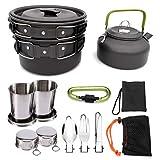 WSCQ Set di Cookware da Picnic all'aperto, Cookware di Campeggio Picnic Set con Tazza Pieghevole Cucchiaio Forchetta per Escursioni Allaperto Picnic Escursionismo,Nero