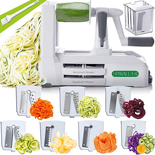 Spiralizer 5-Blade Vegetable Slicer, Strongest-and-Heaviest Spiral Slicer, Best Veggie Pasta Spaghetti Maker for Keto/Paleo/Gluten-Free, Comes with Container & 4 Recipe Ebooks