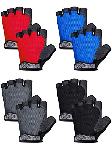 SATINIOR 4 Pairs Kids Riding Cycling Gloves Non-Slip and Breathable Fingerless Sport Gloves Half Finger Reduce Vibration Gloves, Fit Kids Age 4-8 for Outdoor Sports Bicycle