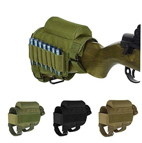 WuuYe Rifle Ammo Holder Hunting Shooting Rifle Buttstock Cheek Rest Pad with 7 Shells Holder (ArmyGreen)