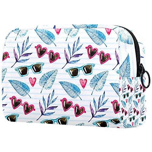 Bolsa de cosméticos para mujeres, adorables bolsas de maquillaje espaciosas para viajes, accesorios para regalos, gafas de sol y hojas