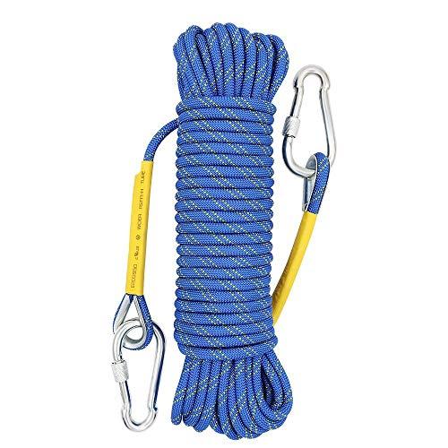 Xben多用途ロープ・多目的ザイル・芯13本紐の頑丈な高強度多機能ロープ・径8mm多目的ロープ・多機能コード 補助ロープ ・耐荷重1200kg・テントロープ ・防災強風対策安全ロープ ・ アウトドアロープ ・園芸ロープ 2個カラビナ付き オレンジロープ10
