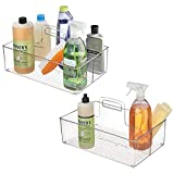 mDesign Plastic Portable Storage Organizer Kitchen Caddy Tote, Divided Basket Bin with Handle for Ketchup, Mustard, Napkins, Condiments, Sauces - Store in Cabinets, Countertops, 2 Pack - Clear