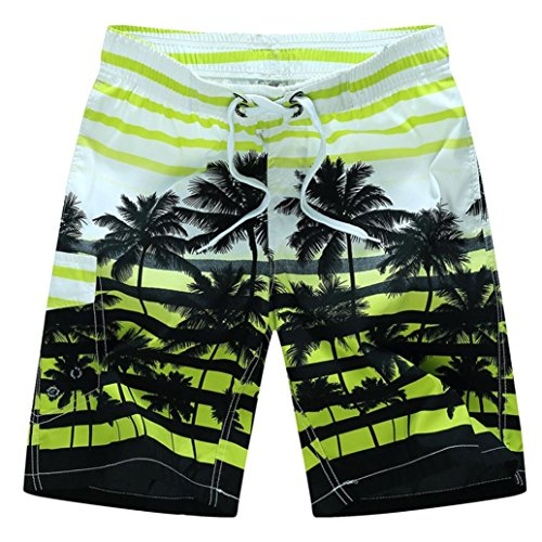 Zainafacai Fashion Coconut Printed Beach Pants-Men's Summer Beachwear Quick Dry Striped Board Shorts Plus Size (Yellow, XL)