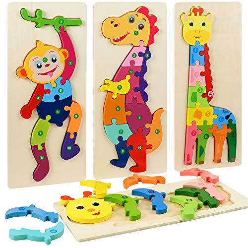 Faburo 4PCS Animaux Puzzles en Bois, Jigsaw Puzzle Jouets, Bébé Puzzle à Encastrements, Jouets Montessori Educatif Apprentissage pour Enfant 2 3 4 5 Ans (Grande 30 * 12cm)