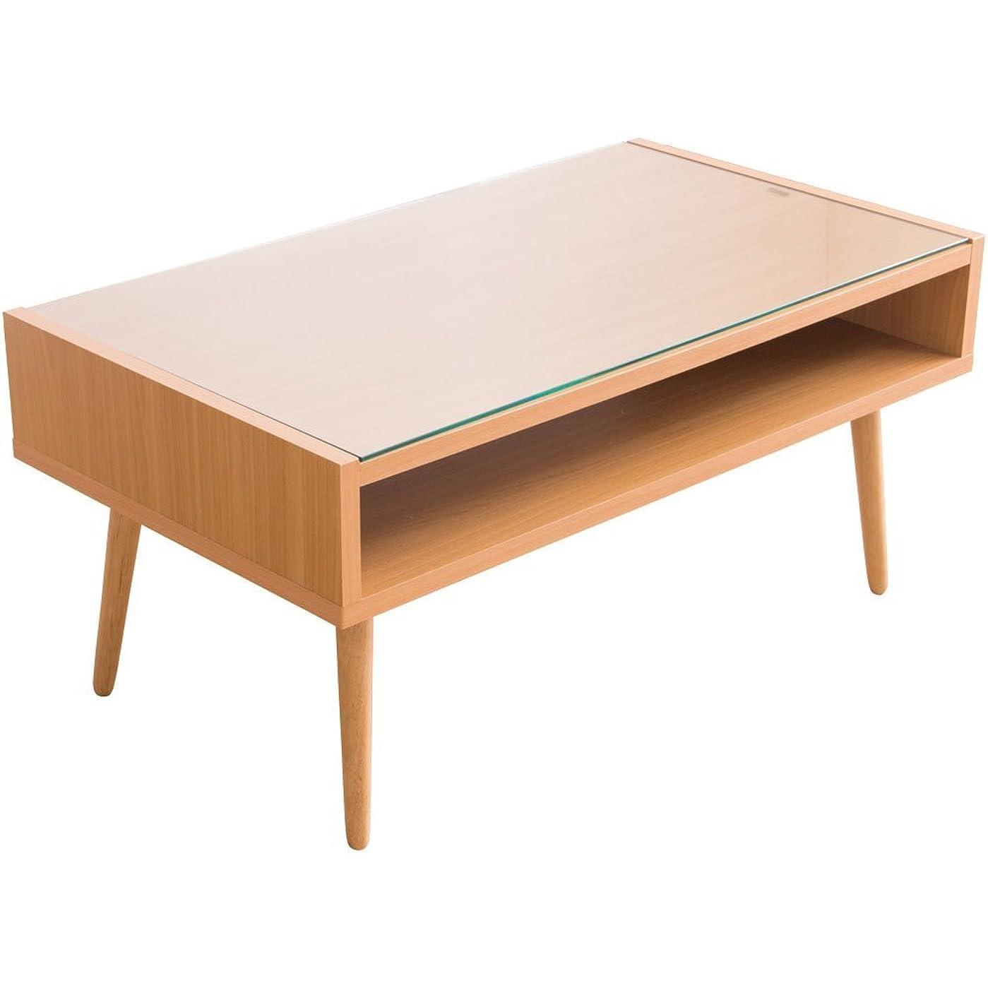 誇りに思う悪党ストロークアイリスプラザ テーブル ローテーブル ガラス天板 収納 ディスプレイ ナチュラル (約)幅80×奥45×高38cm CNMNTBLNA