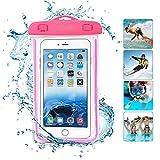 ONX3 Hot Pink Universal wasserdichte Handy Strand Pool Regen Dokument Wertsachen Schutzhülle Tasche Kompatibel mit Oukitel K4000 Pro