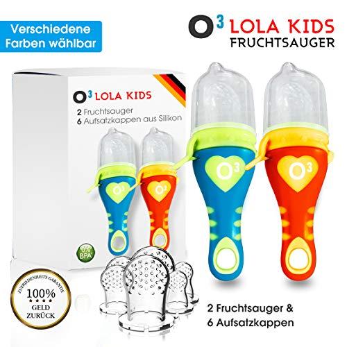 O³ Fruitzuiger voor baby´s en peuters // 2 fruitzuigers met 6 opzetkappen // Gemaakt van BPA-vrij siliconen