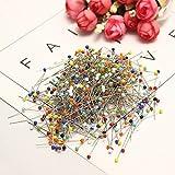 UBERMing 500 Pezzi Spilli con Testa Vetro Spilli da Sarta Spilli con Testa Vetro Multicolore per Creazione di Gioielli Fai Da Te Cucito Bricolage Artigianato