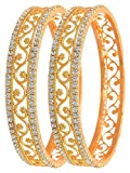 Love Lady Studded Diamond Gold Plated Bangles for Women (Golden) Model No - LOL1111 Size - (2.8)