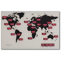NeXtime digital world time clockWORLD TIME DIGIT, glass and aluminium, 55 x 36 cm
