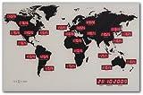 NeXtime Reloj mundial digital  'WORLD TIME DIGIT', de vidrio y aluminio, rectangular, 55 x 36 cm