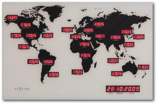 orologio da parete world Nextime 2897 World Time Digit Mappamondo con Fusi Orari da Parete [Importato da Unione Europea e Regno Unito]