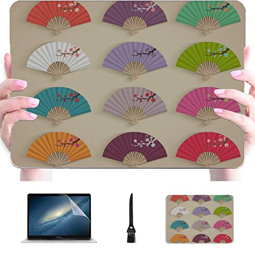 Laptop Cover Traditional Folding Fan Plastic Hard Shell Compatible Mac Air 13' Pro 13'/16' MacBook Air 13 Accessories Protective Cover for MacBook 2016-2020 Version
