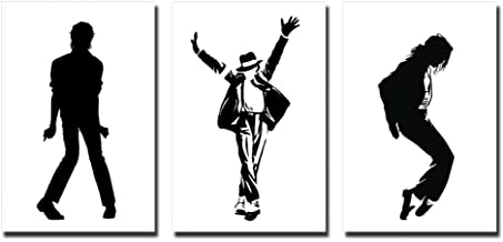 wall26 Michael Jackson Dance Move Silhouette in Black and White - Canvas Art Wall Decor - 16
