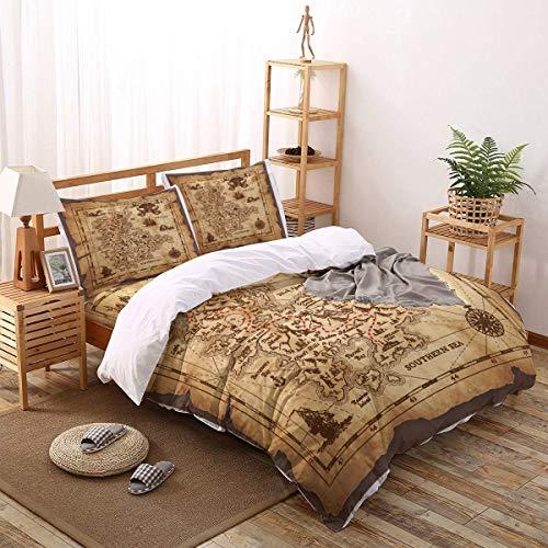 Soefipok 4pcs Bettbezug Set Fluch der Karibik Schatzkarte Leichte Pflegeleichte Bettwäsche-Set für Männer, Frauen, Jungen und Mädchen, Größe KÖNIGIN