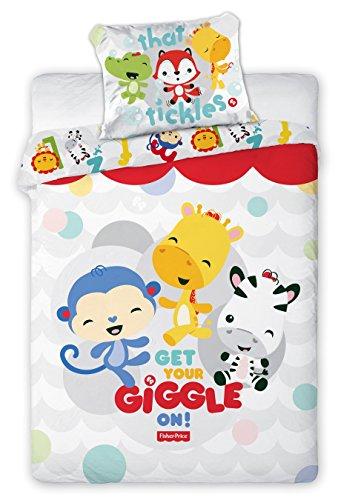 Fisher-Price Giggle Bettwäsche, Bettwäsche Baby, Bettbezug 135x 100cm + Kissenbezug 40x 60cm Dekoidee Babyzimmer Kinderzimmer (FP-03)