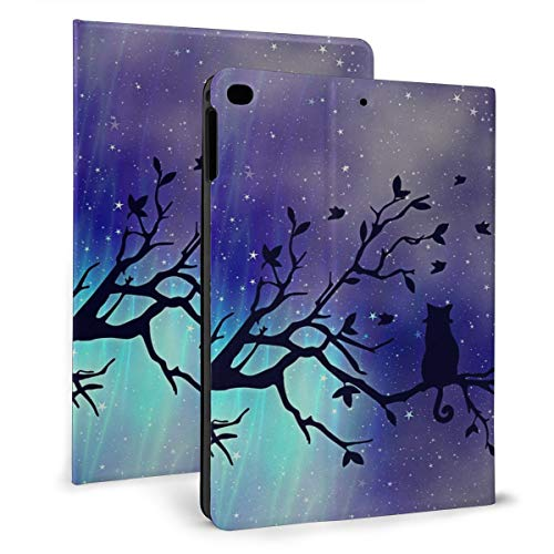Cat Colored Aurora Stars On Black Branch Case For Ipad Mini 4/5 7.9 Inch Cover Protective Flexible Stand Cover With Auto Sleep/Wake For Apple Ipad Tablet