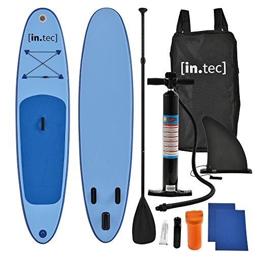 [in.tec] Tabla de Surf Hinchable remar de pie Paddle Board 305 x 71 x 10cm Tabla de Sup de Aluminio con Remo y Bomba - en 3 Colores - Rojo, Turquesa, Azul
