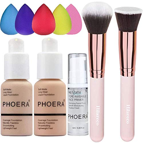 PHOERA Foundation (Nude #102 +Buff Beige #104) & Makeup Primer,Concealer Cover Flüssigmatt Full Coverage, Make Up Foundation Pinsel and Puder Pinsel,5 teiliges Make up Schwamm Set,Value Pack 10 PCS