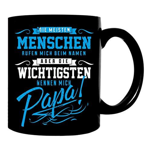 Kaffeetasse schwarz 300ml große Tasse mit Vater Spruch bedruckt Die wichtigsten nennen mich PAPA