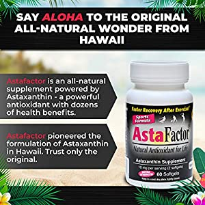 Astafactor 2 Packs 60 Softgels Sports Formula Joint Supplements for Men and Women with Powerful Antioxidants - Move Freely with 10 Milligrams Astaxanthin from Haematococcus Pluvialis for Pain Relief.