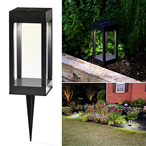 Solar LED Pathway Light - 9 Inch Tall, Cool White or Color-Changing, Modern Outdoor Bollard Lighting, Built-in Solar Panel, Stake & Battery Included