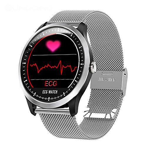 QKa Reloj Inteligente con ECG y Monitor de frecuencia cardíaca. Monitor de sueño. UI. Rastreador de Ejercicios. Pulsera de Acero Adecuada para teléfonos Android y Apple.