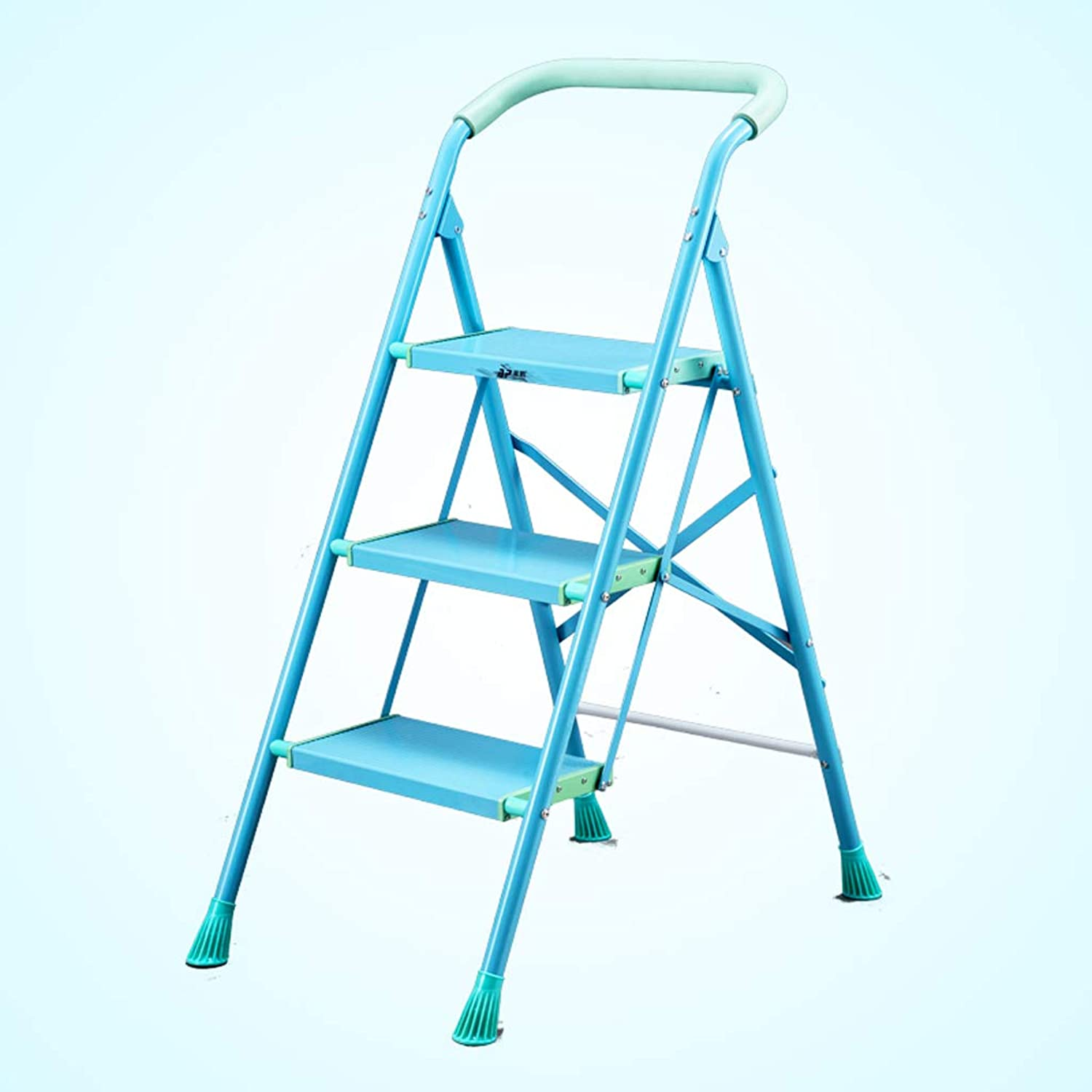 HBJP Ladder Stool Aluminum Ladder Small Household Folding Ladder Ladder Thickening Ladder Three Four Five Step Ladder Bench Indoor Ladder Stairs Staircase stool (Size   44CM×70CM×103CM)