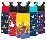 Simple Modern Disney Water Bottle for Kids Reusable Cup with Straw Sippy Lid Insulated Stainless Steel Thermos Tumbler for Toddlers Girls Boys, 14oz, Cars: Radiator Springs