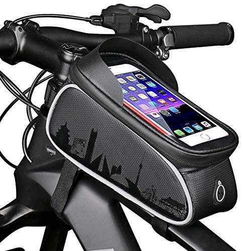 Hanchun Bike Frame Bag Étanche et Parasol Bike Pouch Bag Vélo Sac de Rangement Grande capacité avec Trou pour Casque pour Tout téléphone Intelligent de Moins de 7 Pouces
