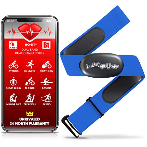 """Mo-Fit Heart Rate Monitor Chest Strap for Garmin, Apple, Android, Peloton, Zwift, ANT+ and Most Bluetooth 4.0 Enabled Fitness Devices (M-XXL: 26""""-39"""") Blue"""