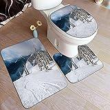 VINISATH Set 3 Pezzi Tappetino da Bagno,Piste da Snowboard su Neve Fresca,Tappetino WC Antiscivolo Tappeto Decorazione per Toilette Bagno