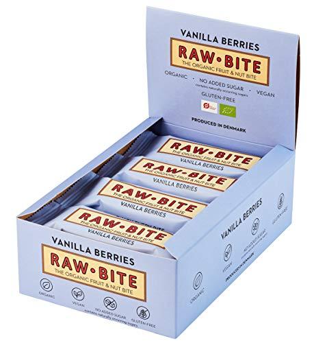 RAWBITE VANILLA BERRIES in der 12er Box - Vegan, glutenfrei & ohne Zuckerzusatz (Enthält von Natur aus Zucker - Bio Frucht-Nuss-Riegel mit Vanille & Beeren (12 x 50 g)