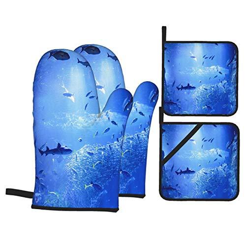 Ofenhandschuhe und Topflappen,Japan Aquarium Enoshima rutschfest HitzebeständigeGrillen Handschuhe und Topflappen Backhandschuhe für die Küche die Kochen Backen