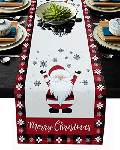 Merry Christmas Gnome Table Runner for Farmhouse Holiday Parties, Burlap Table Runner Dresser Scarves Elf Santa Claus Snowflakes Border Dining Table Decor, 13 x 90 Inch