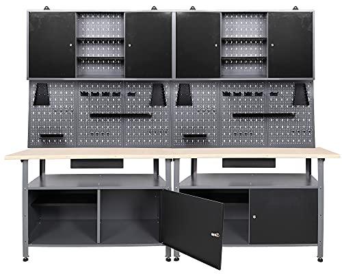 Ondis24 Werkstatteinrichtung Werkstatt Set Werkbank Klaus 240 cm Hängeschrank (Arbeitshöhe 85 cm, Schwarz)