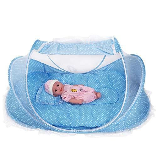 Acouto Reisebett Baby, Moskitonetz Zelt für Babys 4 Stück, tragbare und Faltbare Design, Es Wird mit Einer Matratze, einem Kopfkissen und einem kleinen Spielzeug zum Spielen geliefert(蓝色)