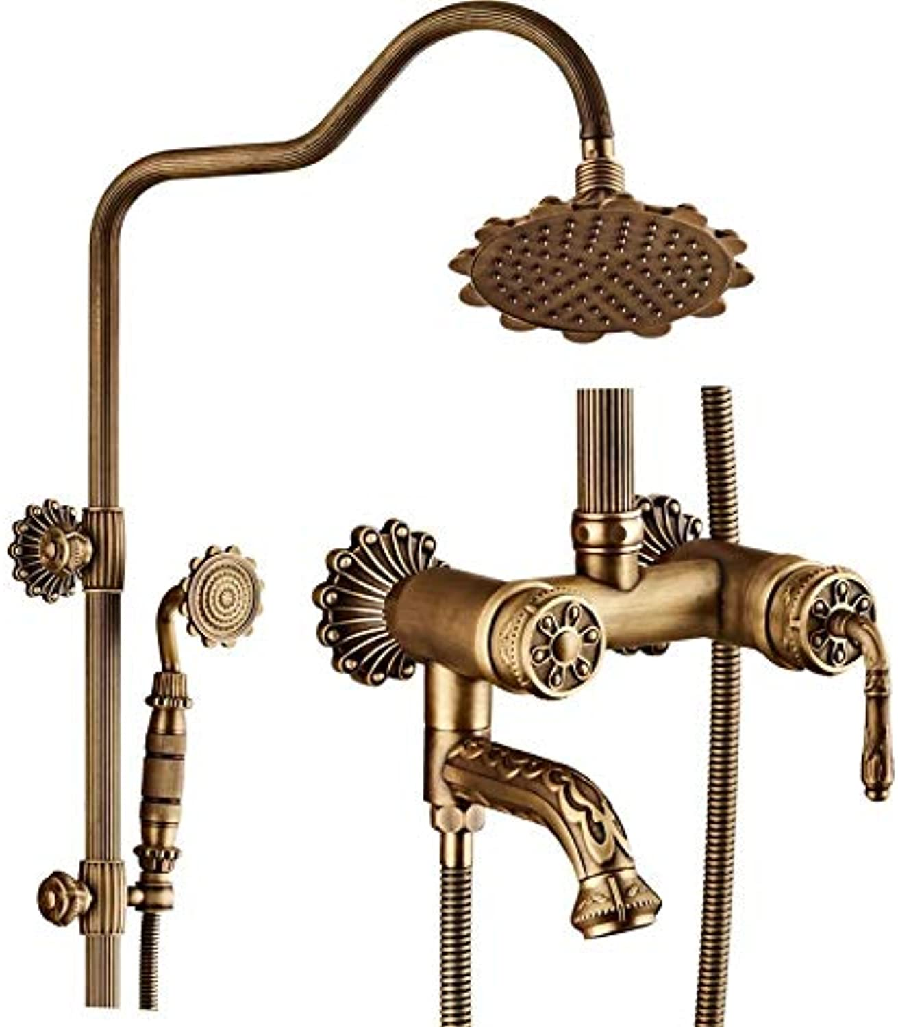 Luxurises Multifunktionsduschset, Retro Wall-Mounted Mixer Shower Set, All Copper Hand Held Hot und Cold Shower Head Scalding Protection