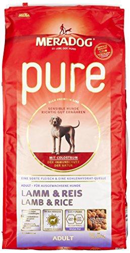MERADOG PURE Adult Trockenfutter, Hundefutter ohne Gluten für sensible Hunde mit Lamm und Reis, 12,5 Kg