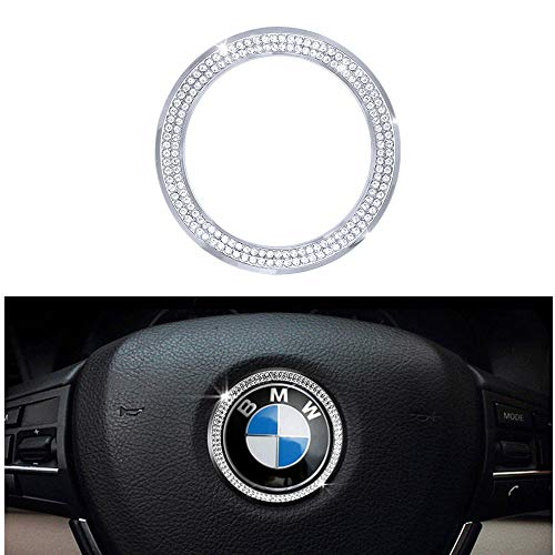 1797 Compatible Steering Wheel Logo Caps for BMW Accessories Parts Trim Covers Decal Sticker Bling Interior Decorations 3 4 5 Series X3 X5 E30 E36 E34 E39 F30 F34 F36 F15 G01 G30 G31 Crystal Silver